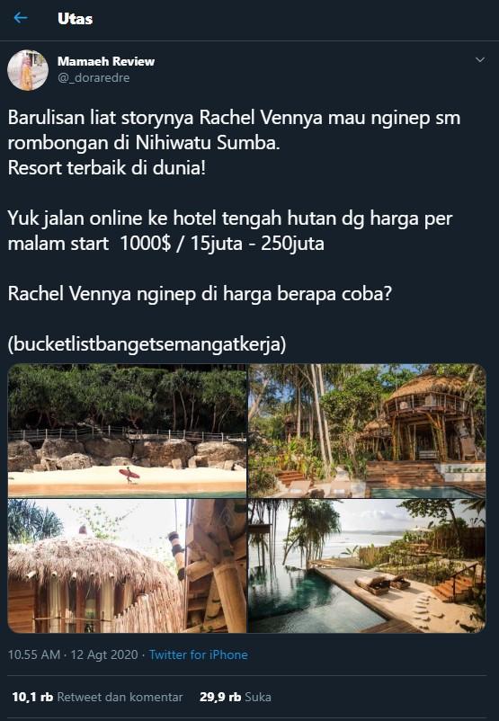 Mau Liburan Ke Nihi Sumba Ala Selebgram Rachel Vennya Berikut Harganya Bintang Sekolah Indonesia