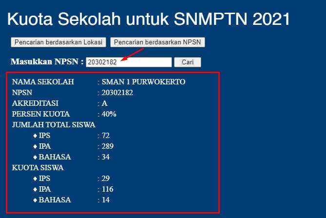 muncul data sekolah berdasarkan npsn