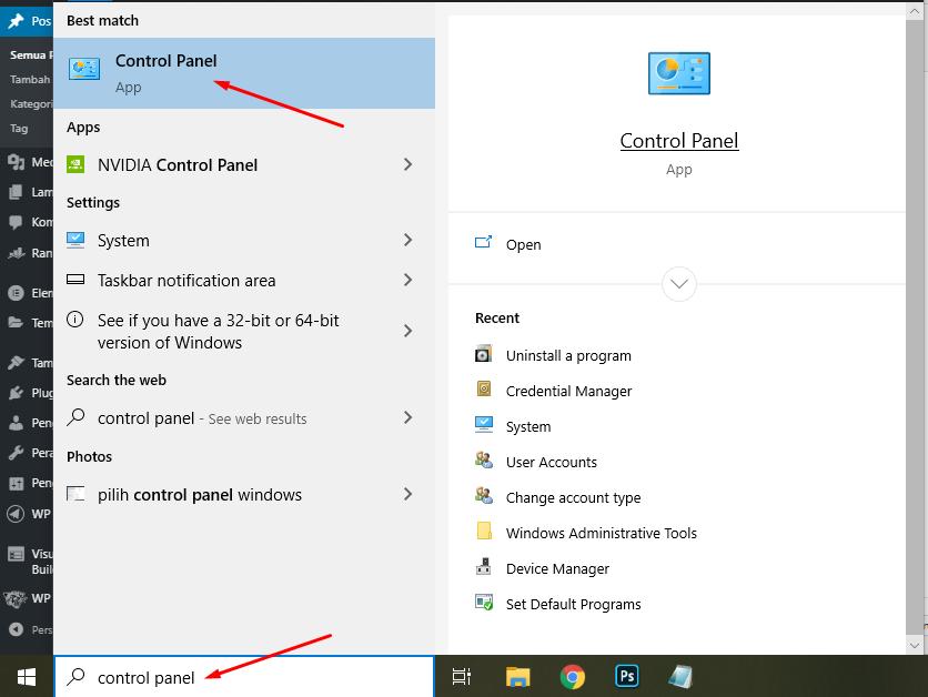 pilih control panel windows