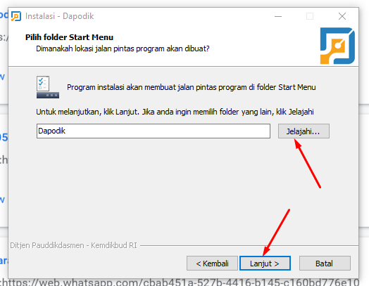 start menu aplikasi dapodik 2021 c