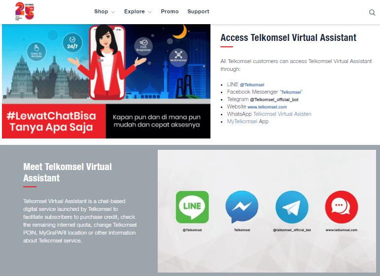 tampilan website asisten virtual telkomsel